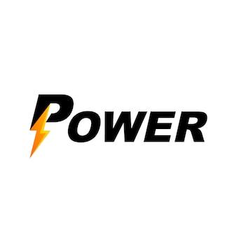 Logo czcionki tekstu mocy z symbolem błyskawicy