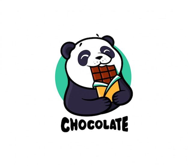 Logo czekolada. logotyp panda jeść czekoladę.