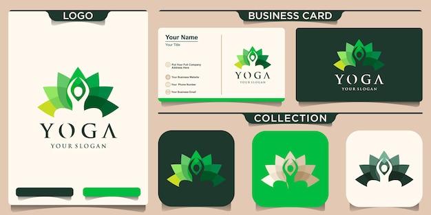 Logo człowieka streszczenie jogi. logotyp równowagi kwiatowej osoby. kreatywne spa, znak wektora guru.