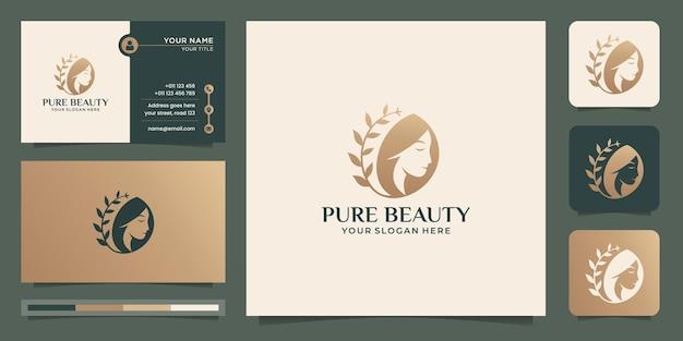 Logo czystego piękna włosów i projektowanie wizytówek do salonu, makijażu, fryzury, strzyżenia, pielęgnacji skóry.
