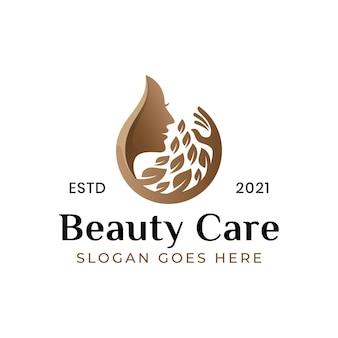 Logo czystej pielęgnacji urody, logo kobiety spa uroda z symbolem liścia
