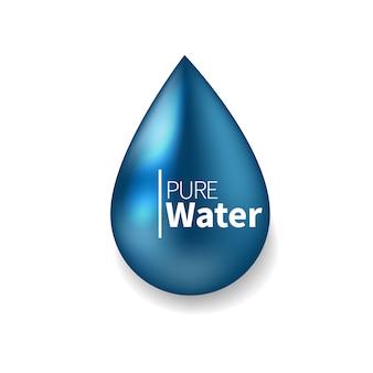 Logo czystej wody. realistyczne ilustracja symbol niebieskiej kropli. znak, ikona, piktogram.