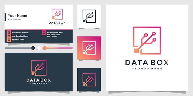 Logo danych z nowoczesnym stylem linii kwadratowych i zestawem wizytówek
