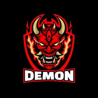 Logo demon w stylu e-sportowym.