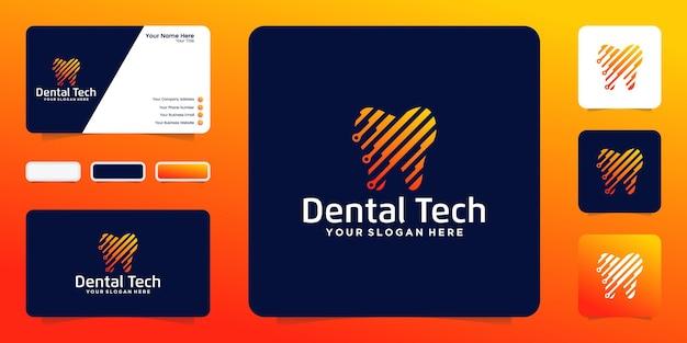 Logo dental technology nowoczesne, proste i niepowtarzalne logo stomatologii. nadaje się do ortodoncji kosmetycznej, kliniki dentystycznej
