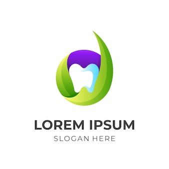 Logo dentysty litery d, litera d i ząb, logo kombinacji z kolorowym stylem 3d