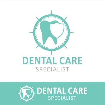 Logo dentysty lub dentysty desain minimalis z ochroną zęba