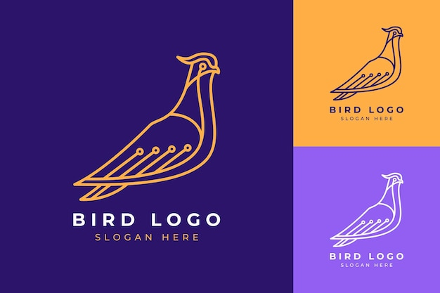 Logo Design Nowoczesna Minimalistyczna Technologia Ptak Line Art Bird Premium Wektorów