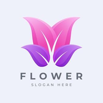Logo design nowoczesny kwiat kolorowy lub gradient