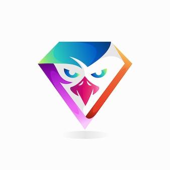 Logo diamentowego orła z gradientową koncepcją koloru