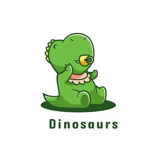 Logo dinozaura prosty styl maskotki.