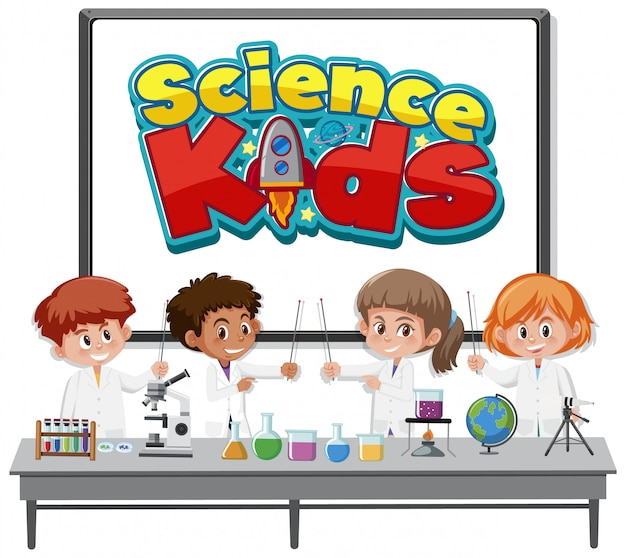 Logo dla dzieci nauki i dzieci na sobie kostium naukowca na białym tle