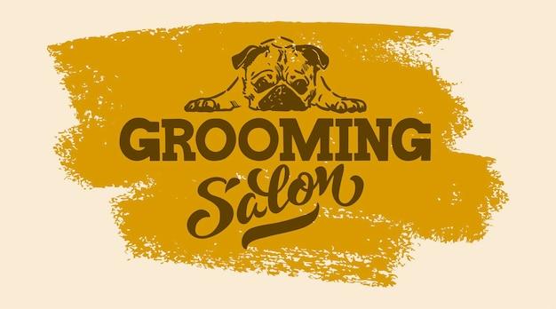 Logo dla psa salon fryzjerski pies stylizacja i pielęgnacja sklep dla zwierząt domowych ilustracja wektorowa na białym tle