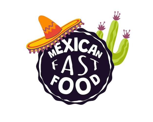 Logo dla tradycyjnej meksykańskiej kawiarni lub restauracji meksykańskiej kuchni napis marki fast food