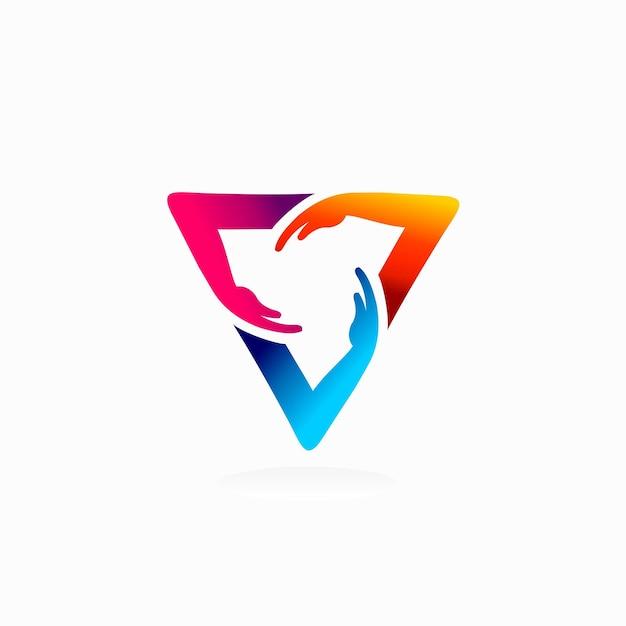 Logo dłoni z trójkątną koncepcją logo potrójnej ręki