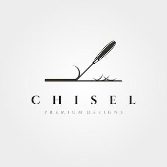 Logo dłuta do ilustracji stolarki drewnianej