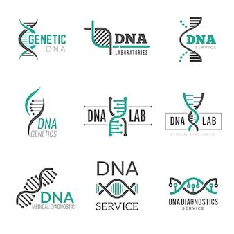 Logo dna. symbole genetyki helix biotechnologia wektor tożsamość biznesowa