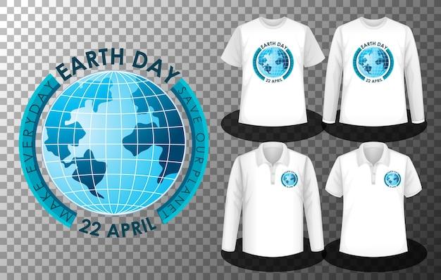 Logo dnia ziemi z zestawem różnych koszul z ekranem logo dnia ziemi na koszulkach