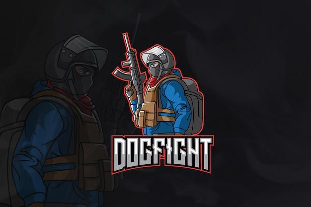 Logo dogfight army esport premium wektorów
