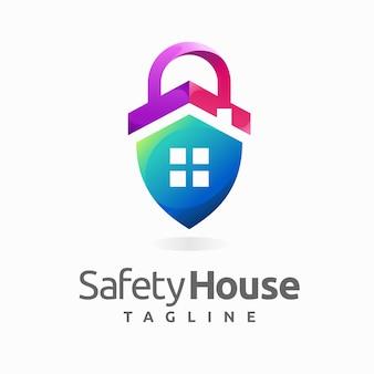 Logo domu bezpieczeństwa z koncepcją kłódki