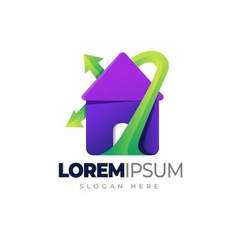 Logo domu ekologicznego zielony dom liść szablon logo gradientu domu