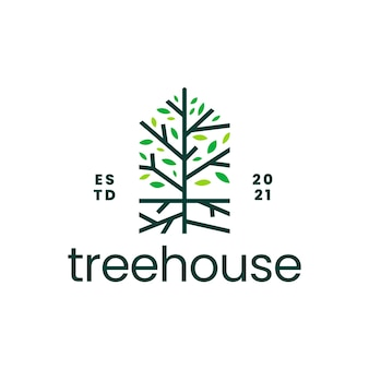 Logo domu hipotecznego domu korzenia drzewa