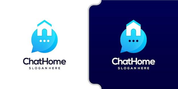Logo domu i czatu łączą nowoczesny styl