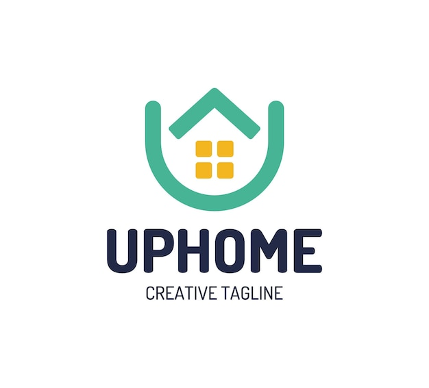 Logo domu nieruchomości. strzałka w górę w górę logotypu domu. prosty dom ikona elementy szablonu projektu litera u