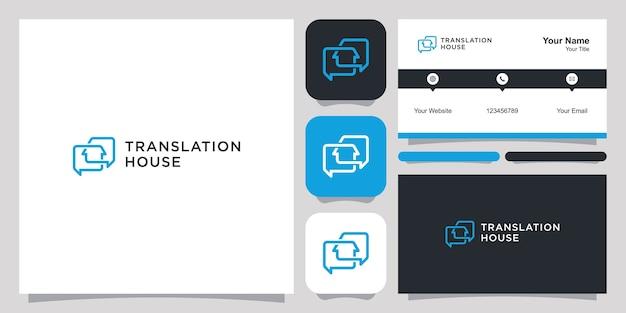Logo domu tłumaczenia i szablon wizytówki