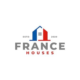 Logo domu we francji dla firmy zajmującej się handlem nieruchomościami.