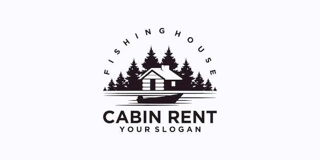 Logo domu wędkarskiego, logo wypożyczalni domków