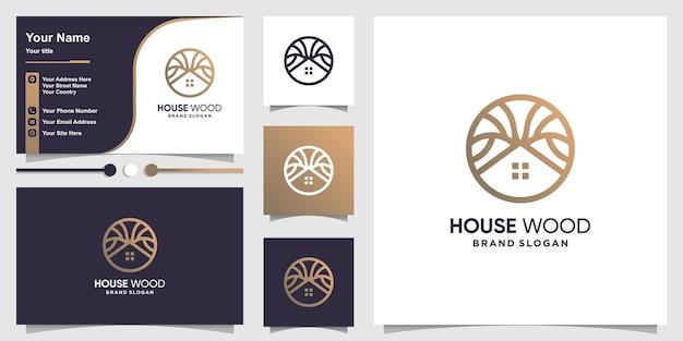 Logo domu z drewnianą koncepcją i projektem wizytówki