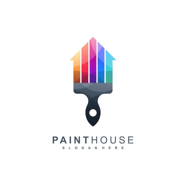 Logo domu z farbą gotowe do użycia