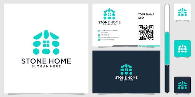 Logo domu z kamienia z wizytówką wektor premium