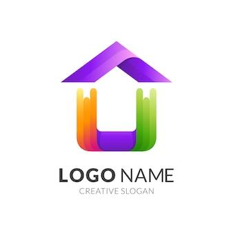 Logo domu z kolorową ilustracją, styl 3d