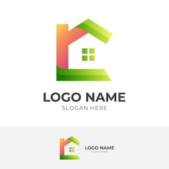 Logo domu z literą c, literą c i domem, logo kombinacji z 3d pomarańczowym i zielonym stylem kolorystycznym