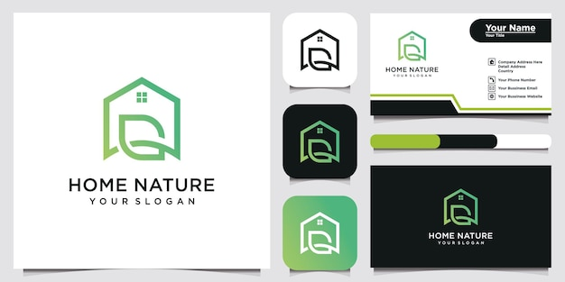 Logo domu z literą g i stylem liścia. i projekt wizytówki