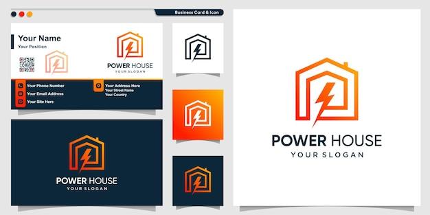 Logo domu z nowoczesną koncepcją energii elektrycznej gradientu i projektem wizytówek premium wektor