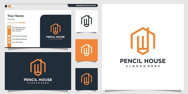 Logo domu z ołówkiem graficznym wewnątrz stylu i wizytówką