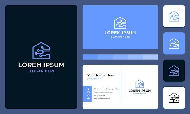 Logo domu z zaawansowaną technologią i łącznością. projekt wizytówki.