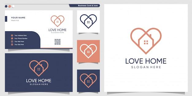 Logo domu ze stylem sztuki linii miłości i szablonem projektu wizytówki, dekoracja, dom