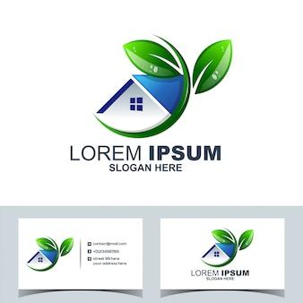 Logo domu zielony liść domu nieruchomości