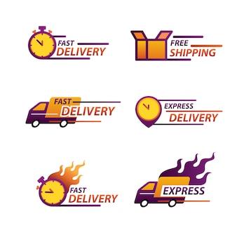 Logo dostawy ekspresowej do aplikacji i strony internetowej. koncepcja dostawy.