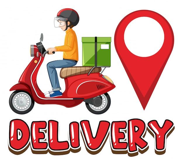 Logo dostawy z rowerzystą lub kurierem