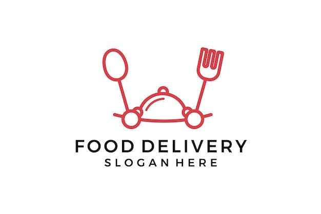 Logo dostawy żywności. kreatywne godło wektor