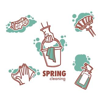 Logo dotyczące czyszczenia, mycia, zamiatania i pracy w komorze