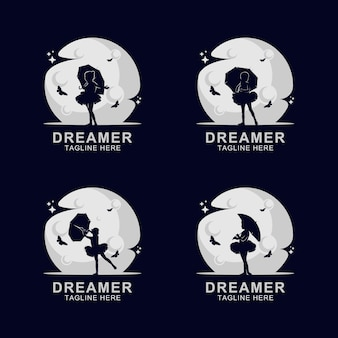 Logo dreamer sylwetka na księżycu