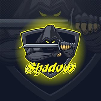 Logo drużyny e-sportowej maskotki shadow assassin lub nadruk na koszulce.