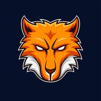 Logo drużyny gry maskotka głowa japońskiego lisa kitsune