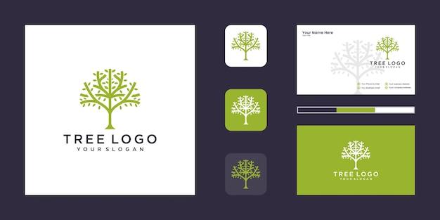 Logo drzewa. cechy drzewa. to logo jest dekoracyjne, nowoczesne, czyste i proste. i wizytówkę